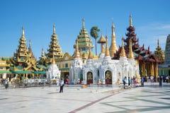 Sunny day on the territory of Shwedagon pagoda. Yangon, Myanmar Stock Image