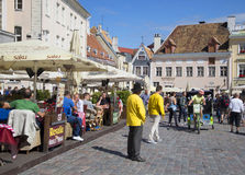 Sunny day on the town hall square. Tallinn Stock Images