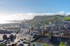 Sunny day in the town of Hastings in East Sussex, England stock photography