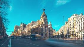Sunny day traffic gran via madrid metropolis panorama 4k time lapse spain. Spain sunny day traffic gran via madrid metropolis panorama 4k time lapse stock video footage