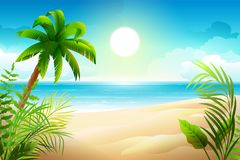 Sunny day on tropical sandy beach. Palm trees and sea paradise holidays. Vector cartoon nature illustration Royalty Free Stock Photo