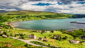 Sunny day in the Uig town, Skye Island, Scotland, Timelapse stock footage