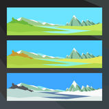 Sunny day in the valley of a mountain river in different seasons. Vector illustration. Royalty Free Stock Photos