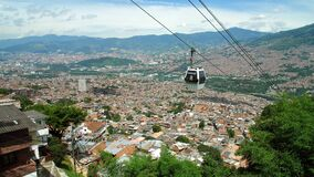 View of cable cars in Medellin, Colombia. A sunny day view of the cable cars in Medellin, Colombia, at Santo Domingo neigborhood, with the city valley in the stock video footage