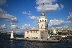 Sunny day view of the Maiden`s Tower Istanbul, Turkey stock images