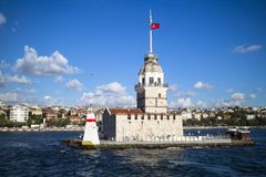 Sunny day view of the Maiden`s Tower Istanbul, Turkey royalty free stock photos