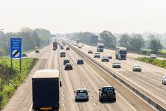 Sunny day view of UK motorway traffic.  stock photography
