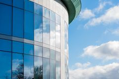 Sunny day view of windows of modern business corporate office building in northampton england uk.  stock images