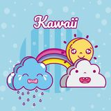 Sunny day kawaii cartoons. Sunny day and weather kawaii cartoons vector illustration graphic design Stock Photo