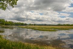 A Sunny Day in the Wetlands. A sunny day with clouds reflecting on the water in the wetlands an Nygren Wetlands near Rockton, Illinois royalty free stock photography