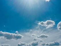 Sunny day. White clouds and blue sky royalty free stock photos
