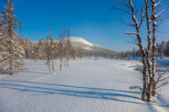 Sunny day Winter landscape with river and mountain Stock Photos