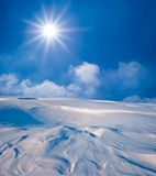 Sunny day in a winter  steppe Royalty Free Stock Photo