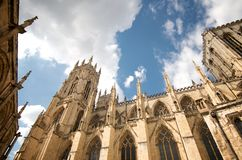 A sunny day at York minster,England. This was taken at a sunny day in front of the york minster, beautiful architecture Royalty Free Stock Image