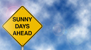 Sunny Days Ahead Road Sign. Positive motivational traffic sign suitable for a variety of business, health, and family situations royalty free stock photography