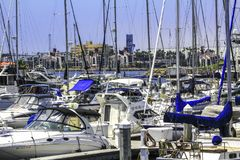 Sunny days at the crowded marina. In San Diego California full of boats Stock Image