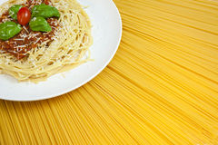 Sunny Display Of Spaghetti Bolognese Royalty Free Stock Image