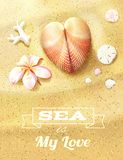Sunny Dunes with Heart Shaped Seashell Royalty Free Stock Photos
