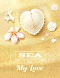 Sunny Dunes with Heart Shaped Seashell. Sand Dollars and Flower. Vector illustration, eps10, editable Stock Images