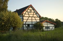 Sunny Dutch House. Beautiful sunlit old house in Limburg, Holland stock image