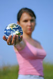Sunny Earth. Focused on the globe, the rest is out of focus Stock Image
