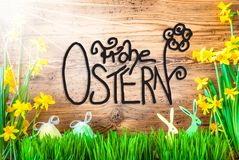 Sunny Easter Decoration, Calligraphy Frohe Ostern Means Happy Easter. Wooden Background With German Calligraphy Frohe Ostern Means Happy Easter. Easter royalty free illustration