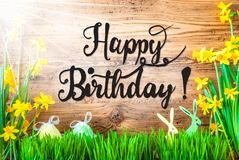 Sunny Easter Decoration, English Calligraphy Happy Birthday royalty free stock photos