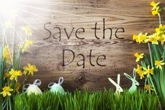 Sunny Easter Decoration, Gras, Text-Abwehr das Datum Stockfoto