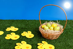 Sunny Easter eggs hunt day Stock Photo