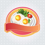 Sunny egg label. Label with beatiful sunny side up Royalty Free Stock Photo