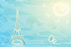 Sunny Eiffel tower. And trees on textured blue background, sketch  vector illustration Stock Photography