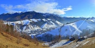 Sunny end of winter in the mountains Stock Photo