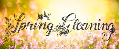 Sunny Erica Flower Field, Calligraphy Spring Cleaning royalty free stock images