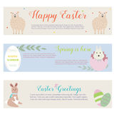 Sunny Estar banners with rabbits, sheep and floral ornaments. Sunny Easter banners with cute rabbits, sheep and floral ornaments Stock Illustration
