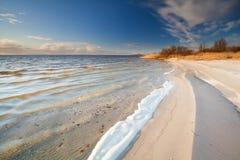Sunny evening on Ijsselmeer lake coast. Netherlands Royalty Free Stock Photography