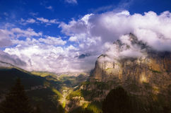 Sunny Evening in Swiss Alps, Jungfrau Region Royalty Free Stock Photos