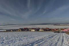 Sunny evening in village Spisske Tomasovce. In Slovakia winter stock images