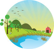 Sunny Farm Scene Stock Image