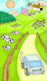 Sunny Farmland Animal Cow Stock Illustration Stock Photos