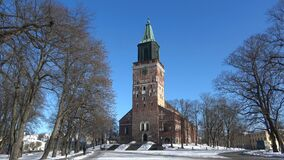 A Sunny February day at the Cathedral of Turku. Finland. A Sunny February day at the Cathedral of Turku, Finland stock video