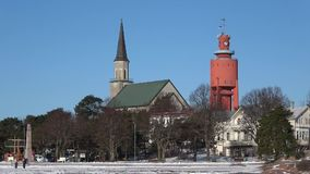 Sunny february day in the city of Hanko. Finland. Sunny february day in the city of Hanko, Finland stock video footage