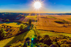 Sunny field. Picture with exagerated lens flares Stock Photo