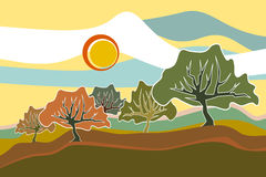Sunny Field Trees landscape illustration. Vector illustration of sunny field trees landscape in many colors Royalty Free Stock Images