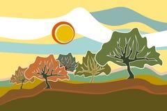 Sunny Field Trees landskapillustration Royaltyfria Bilder