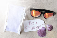 Sunny Flat Lay Summer Label Bon Voyage Means Good Trip. Sunny Summer Label With French Text Bon Voyage Means Good Trip. Flat Lay View. Summer Decoration With Royalty Free Stock Photo