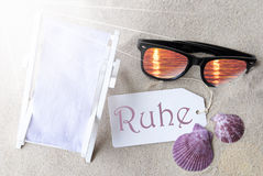Sunny Flat Lay Summer Label Ruhe Means Peace Stock Photography