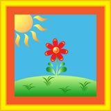 Sunny Flower GardenVector. Sunny Flower Garden Vector on blue background and yellow orange frame, Sunny flower illustration Stock Photo
