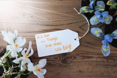 Sunny Flowers, etichetta, cita le piccole cose rende la vita grande Fotografia Stock