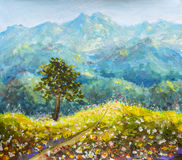 Sunny flowers road in mountains oil painting impressionism. Colorful mountains oil painting. Sunny road in mountains. Solar flower meadow with a tree on a Stock Photo