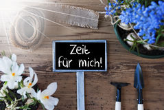 Sunny Flowers, Sign, Zeit Fuer Mich Means Time For Me Stock Photos